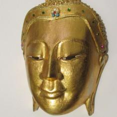CAP DE BARBAT-APLICA-sculptura in lemn, arta China, vintage - Arta din Asia