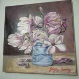 Tablou flori de primavara, ulei pe panza, bine realizat - Pictor roman, Realism