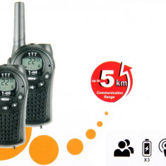 Walkie Talkie T-66, Nou la Cutie/Set 2Buc, Emisie Pana la 5km, incorporat Lanterna - Statie radio