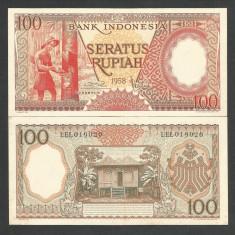 INDONESIA INDONEZIA 100 RUPII RUPIAH 1958 UNC [1] P-59, necirculata - bancnota asia
