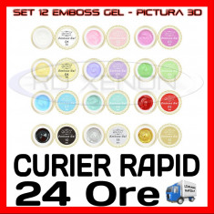 KIT SET 12 MODELE GEL GELURI COCO EMBOSS - PT PICTURA 3D 8ML