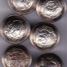 Lot 6 nasturi metal  culoare alba insemne heraldice,vintage RSR