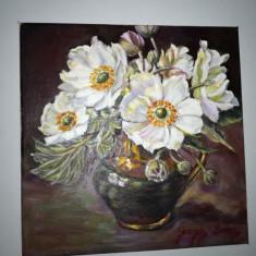 Tablou flori, ulei pe panza, superb - Tablou autor neidentificat, Realism