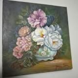 Tablou ulei pe panza,, flori de hibiscus, foarte bine realizat - Pictor roman, Realism