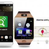 Smartwatch DZ09 Bluetooth cu SIM Rose Gold, curea visinie, compatibil Android & iOS