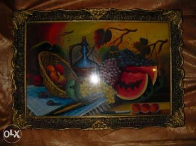 Tablou ulei pe panza,vechi, inramat, dimensiuni ample foto