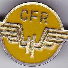 Insigna CFR cu email galben pentru chipiu