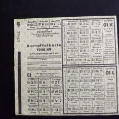 Cartela pentru cartofi, Germana.Anii 1948-49. - Cambie si Cec
