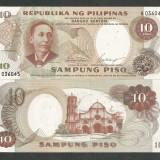 FILIPINE 10 PISO 1969 UNC [1] P-144a, Semnatura 7, necirculata - bancnota asia