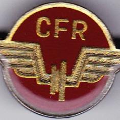 Insigna CFR cu email rosu pentru chipiu