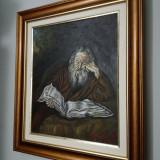 Tablou superb, batran citind, ulei pe panza - Pictor roman, Portrete, Realism