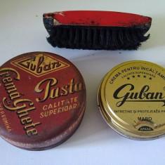 Lot 2 cutii vechi crema ghete Guban si o perie de ghete - Cutie Reclama