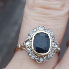 Distins inel Victorian cu safir si diamante, anii 1900, autentic! - Inel diamant, Carataj aur: 14k, Culoare: Galben