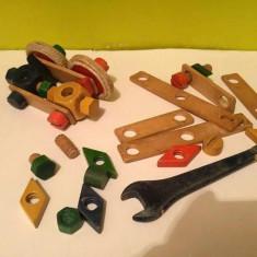 Piese lemn de la jocvechi, vintage de constructii masini, incomplet, colectie - Set de constructie