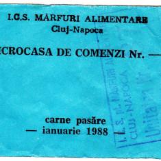 Ratia lunara de CARNE PASARE ian.1988 cartela, tichet ICS marfuri alimentare Cluj