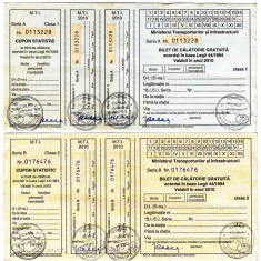 Lot 2 bilete clasa I+II calatorie gratuita 2010 CFR nefolosite veteranii razboi