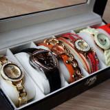OFERTA FULGER! Cadoul EI - Pachet 6 ceasuri + cutie compartimentata POZE REALE - Ceas dama, Elegant, Quartz, Inox, Piele ecologica, Nou
