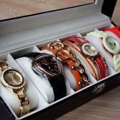 OFERTA FULGER! Cadoul EI - Pachet 6 ceasuri + cutie compartimentata POZE REALE - Ceas dama, Elegant, Quartz, Piele ecologica, Nou