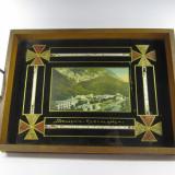 F Suvenir vechi Baile Harculane Tava de sticla cu rama de lemn