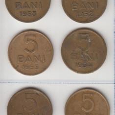Set 5 bani 1952-1957 RPR, 6 monede, L 5.45 - Moneda Romania, Alama