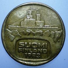 1.225 FINLANDA URHO 5 MARKKAA 1983, Europa, Bronz-Aluminiu