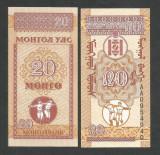 MONGOLIA   20   MONGO   1993   UNC   [1]  P-50  ,   necirculata