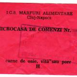 Ratia lunara de CARNE DE OAIE,VITA,PORC cartela,tichet,bon anii 1988-1989 Cluj