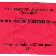 Ratia lunara de CARNE DE OAIE, VITA, PORC cartela, tichet, bon anii 1988-1989 Cluj