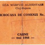 Ratia lunara de CARNE luna mai 1988 cartela,tichet ICS marfuri alimentare Cluj