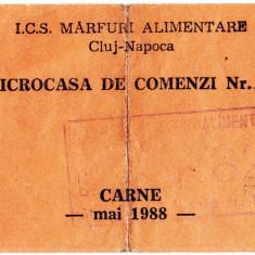 Ratia lunara de CARNE luna mai 1988 cartela, tichet ICS marfuri alimentare Cluj