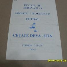 Program Cetate Deva - UTA - Program meci