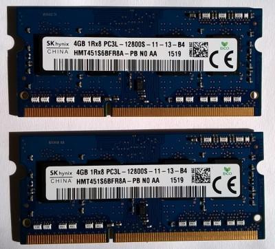 8GB Ram laptop Hynix 2*4GB 12800 DDR3 1600Mhz HMT451S6AFR8A-PB PC3L Low 1.35V foto