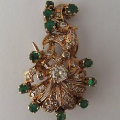 Brosa din aur cu diamante si smaralde - Brosa aur, 18k