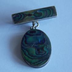 Brosa de argint cu scoica abalone-68 - Brosa argint