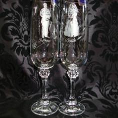 SET DOUA PAHARE DUSKE PENTRU MIRI DECORATE MANUAL - Decoratiuni nunta