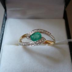 LICHIDEZ COLECTIE- INEL CU SMARALD SI DIAMANTE - Inel diamant, Carataj aur: 18k, Culoare: Galben