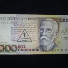 Brazilia . 1 cruzado novo . supratipar pe 1000 cruzados . ND (1989) . UNC - bancnota america