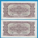 3 lei 1952 UNC 2 CONSECUTIVE - Bancnota romaneasca