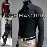 Camasa Barbati Slim Fit Cambrata Casual Eleganta Neagra, L, M, S, XS, Maneca lunga, Negru