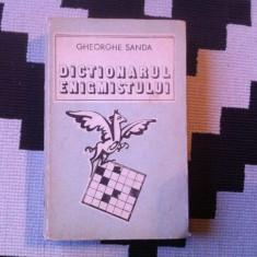 Dictionarul enigmistului Gheorghe Sanda dictionar carte hobby sport turism 1983