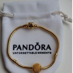 Bratara PANDORA GOLD placata argint aur 14k + 1 charm rotund cadou - Bratara argint pandora, Femei