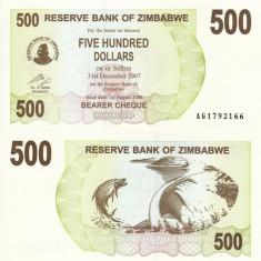 ZIMBABWE 500 dollars 2006 BEARER CHEQUE UNC!!!