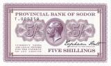 Bancnota Insula Sodor 5 Shillingi 2016 - SPECIMEN ( proba - hartie cu filigran )