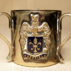 Pahar mic cana cu trei torti masonerie mason metal placat cu argint