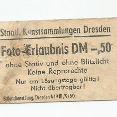 LL Bilet de intrare muzeul de stat Dresda ( 3 August 1966)