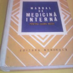 MANUAL DE MEDICINA INTERNA PENTRU CADRE MEDII C.BORUNDEL EDITURA MEDICALA 1979