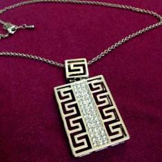 SET Colier Versace + CERCEI -lantisor placat AUR alb 18K si Swarovski + CUTIE - Set bijuterii placate cu aur