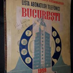 LISTA ABONATILOR LA SERVICIUL TELEFONIC, BUCURESTI, 1958 - Enciclopedie