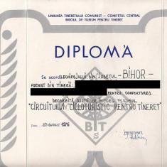 Diploma Uniunea Tineretului Comunist, pentru intrecere sportiva + mapa