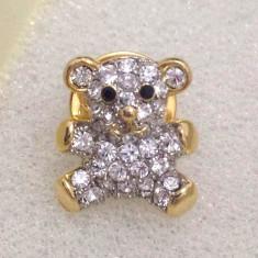 Brosa ursulet- placata cu aur 18K si pietre Swarovski - Brosa placate cu aur